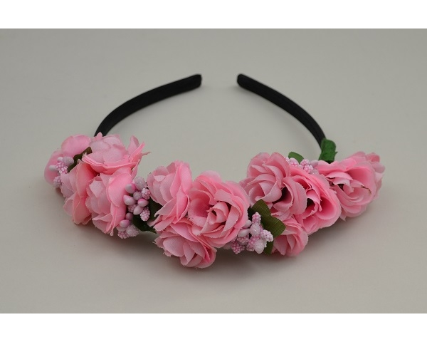 Pink flower cluster on sateen covered alice band with cluster beads