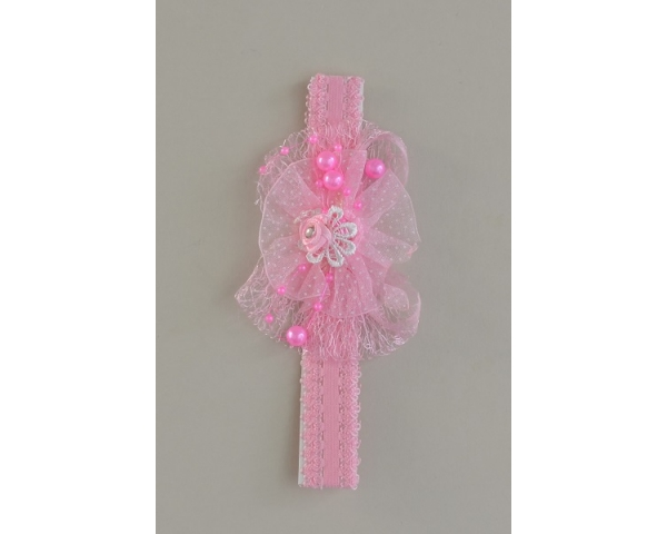 Girls lacy netted elasticated kylie in pink. 3 designs as per images per pack. Length approx 15cm. Width approx 2cm