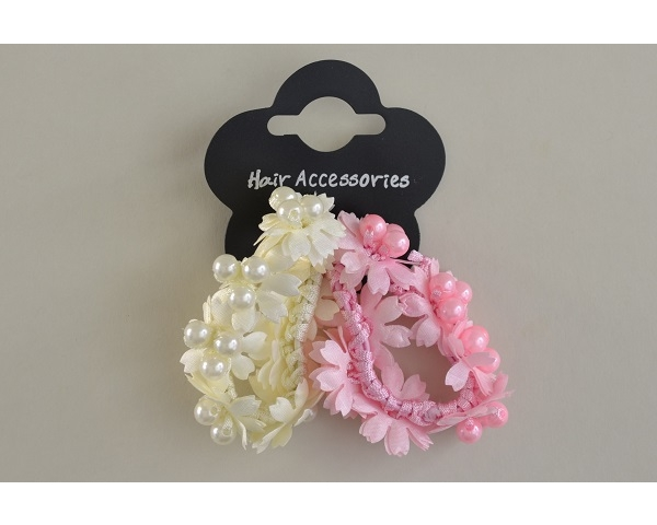 Flower & pearly bead elastic scrunchie. 2 per card. Colours as per images