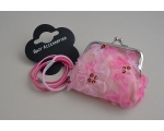 Clasp purse with chiffon flower & sequin design with 4 elastics. All pink as per image