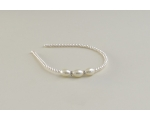 Cream pearly bead covered alice band with 3 side mounted larger beads & diamantes