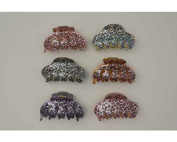 Colourful animal print clamp - 2 styles per pack. Colours as per image