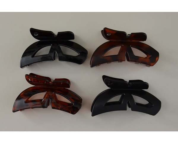 Butterfly design clamp in matt and gloss finish. Black and brown per pack.9 cm approx