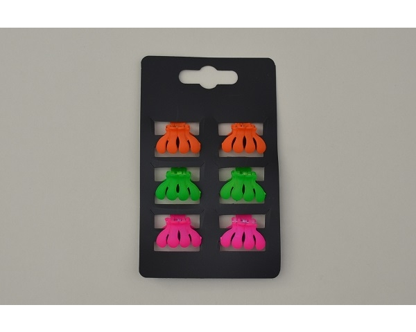 6 mini clamps per card in neon colours. 2 colour ways per pack. Approx 2.5cm