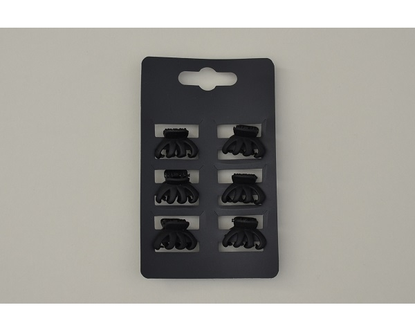 6 mini clamps per card in mat black. Approx 2 cm