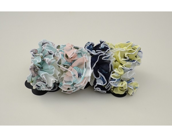 1x large ruffle scrunchie in pretty pastel floral design per card. Colours as shown